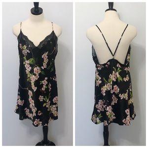 Natori Black Satin Lace Trim Floral Chemise Slip